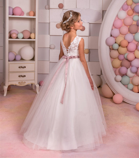Sweet puffy tulle Lace Ivory Flower Girl Dress for party and wedding beaded jewel ball gown holy the first communion dresses