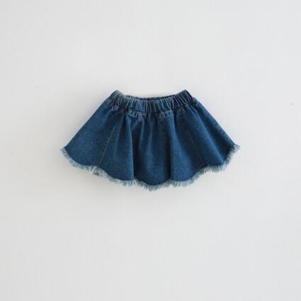 2017 Baby Girls Denim Casual Ruffles Denim Ripped Skirt Solid Color Ruffles Whoelsale Skirt