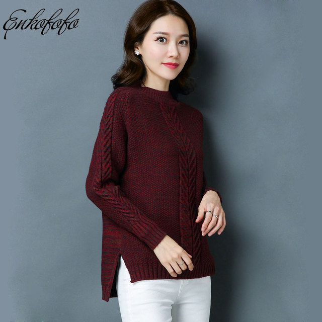 cb478312457 2018 Autumn Winter Sweaters Women s Long Sleeve Solid Color Crew Neck Split Knitting  Pullover Thick Warm Wool Sweater Women