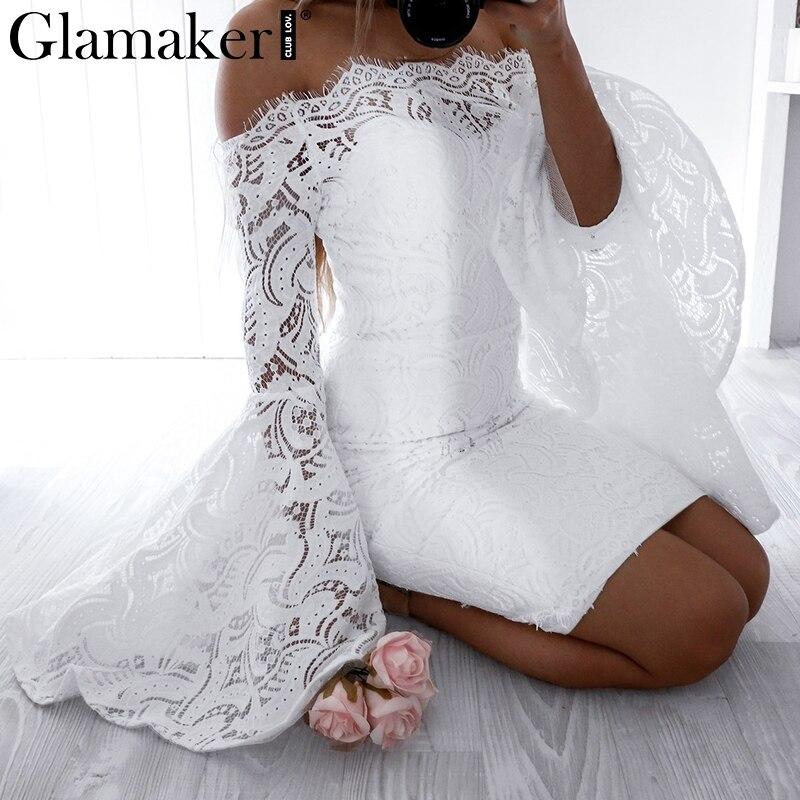 Glamaker Off Shoulder Sexy Lace Women Dress Robe Flare Sleeve Bodycon Summer Dress Evening Party Elegant Dress Vestido De Festa