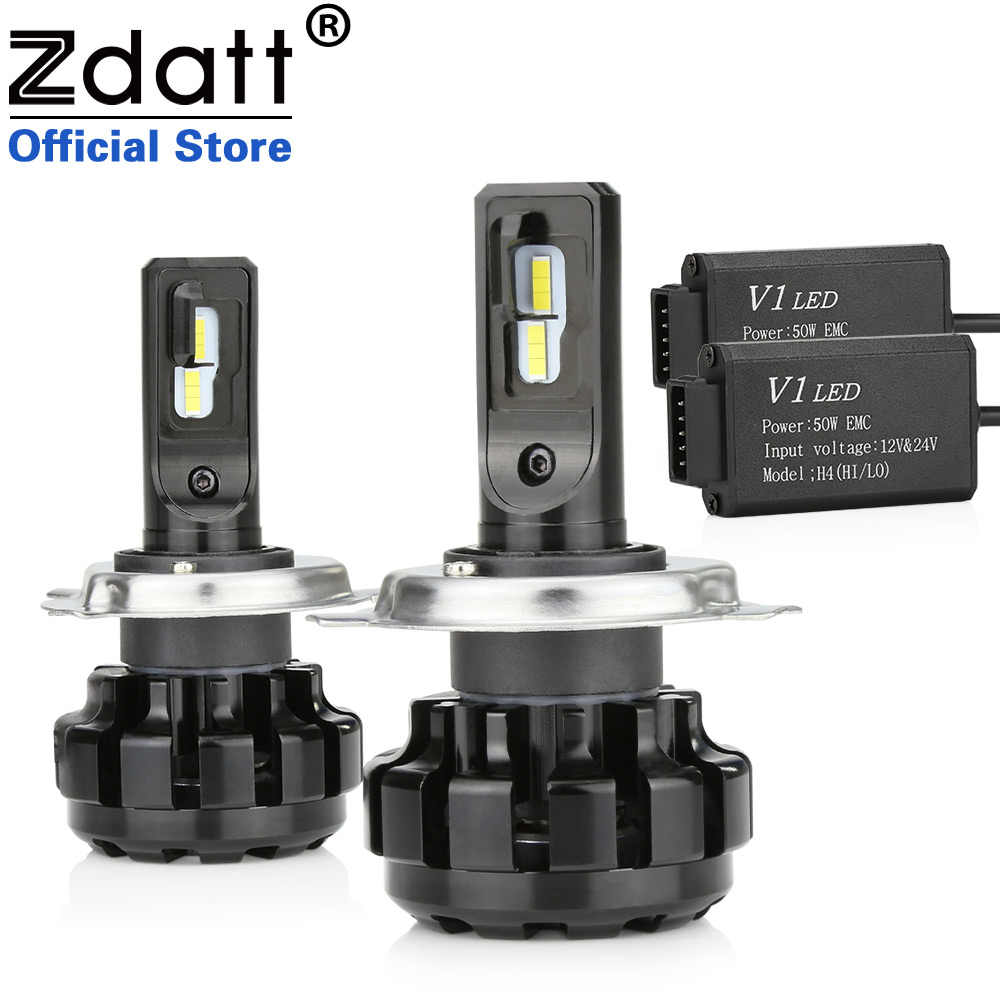 Zdatt 2Pcs Super Brgiht Car Led Canbus Bulb H1 H4 H7 H8 H9 H11 9005 HB3 Led Light Headlights 100W 12000LM 12V 6000K Automobiles