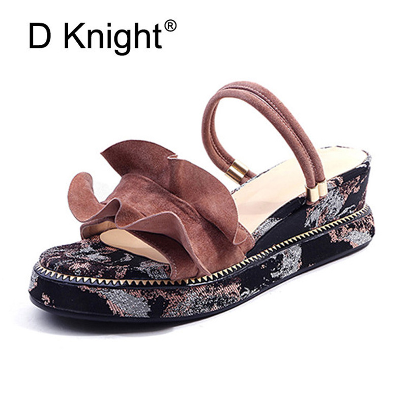 Genuine Leather High Heels Gladiator Sandals Women 2018 New Summer Print Platform Sandals Ladies Casual Wedge Heel Creeper Shoes women sandals gladiator genuine leather studded gladiator transparent sandals heel womens shoes beige black summer high heels