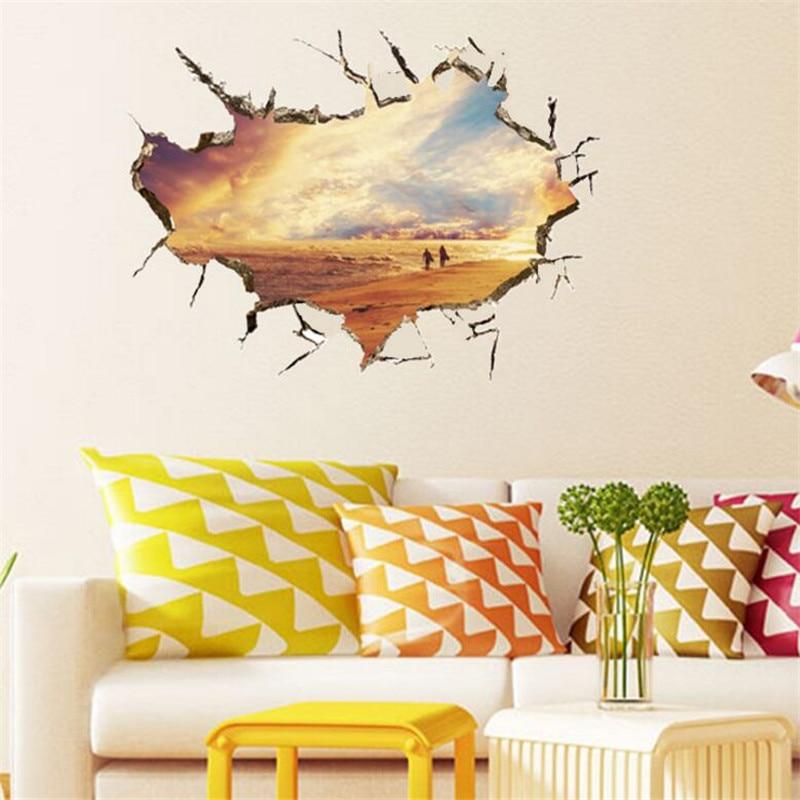 idfiaf 3d crack wall sticker baby kid room bedroom home decorations