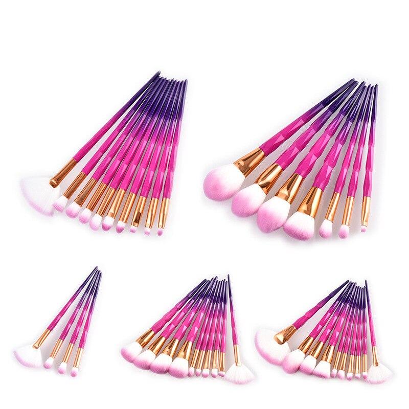 Diamond Multicolor 4/7/10pcs Makeup Brushes Unicorn Foundation Powder Blush Kits Eyes Brushes Cosmetic Synthetic Hair Tool