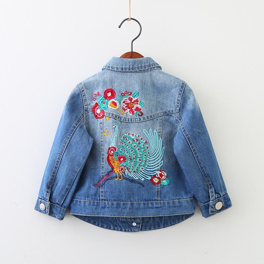 Girls Denim Jackets Vintage Jeans Jackets for Girl Toddler Denim Jackets Infant Jean Peacock Embroidery Girls