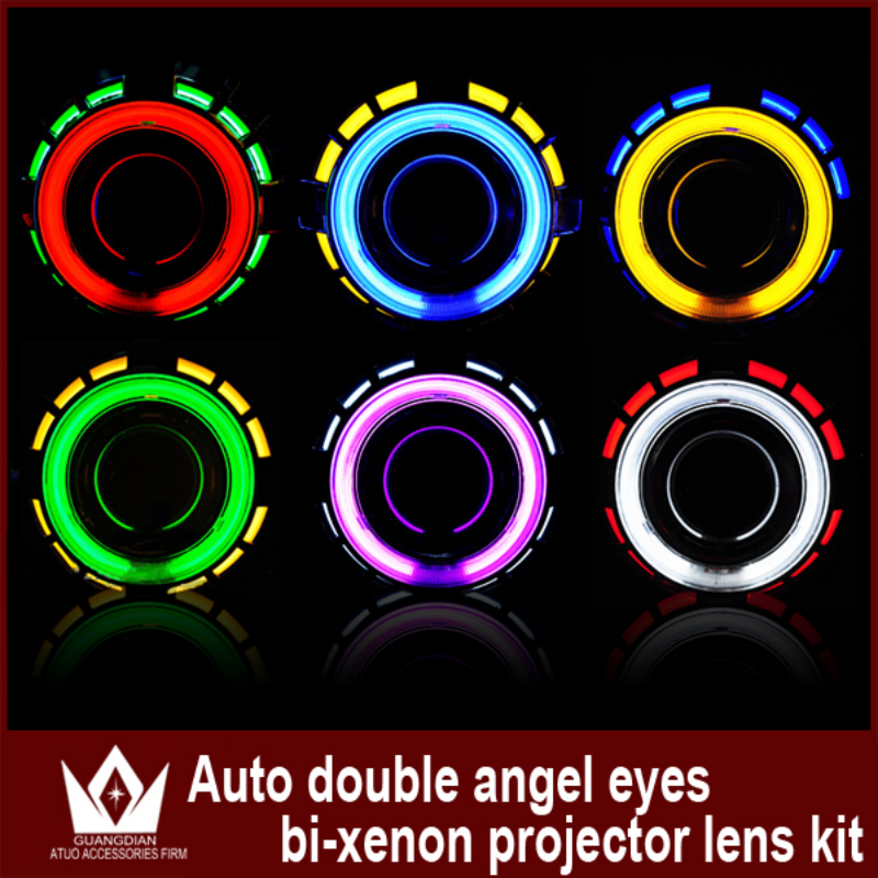 Tcart 35W Dual Double CCFL Angel Eyes bi -xenon auto hid conversion kit Projector Lens Light for Headlights Free Shipping
