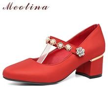 Купить с кэшбэком Meotina High Heels Mary Janes Shoes Women Rhinestone Square Heels Pumps Sweet Round Toe Bridal Shoes Female Red Plus Size 33-46