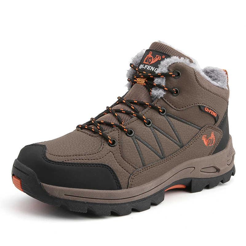 Vancat/большие размеры 38-47; мужские ботинки; нескользящая зимняя обувь; мужские плюшевые теплые зимние ботильоны; высококачественные водонепроницаемые зимние ботинки