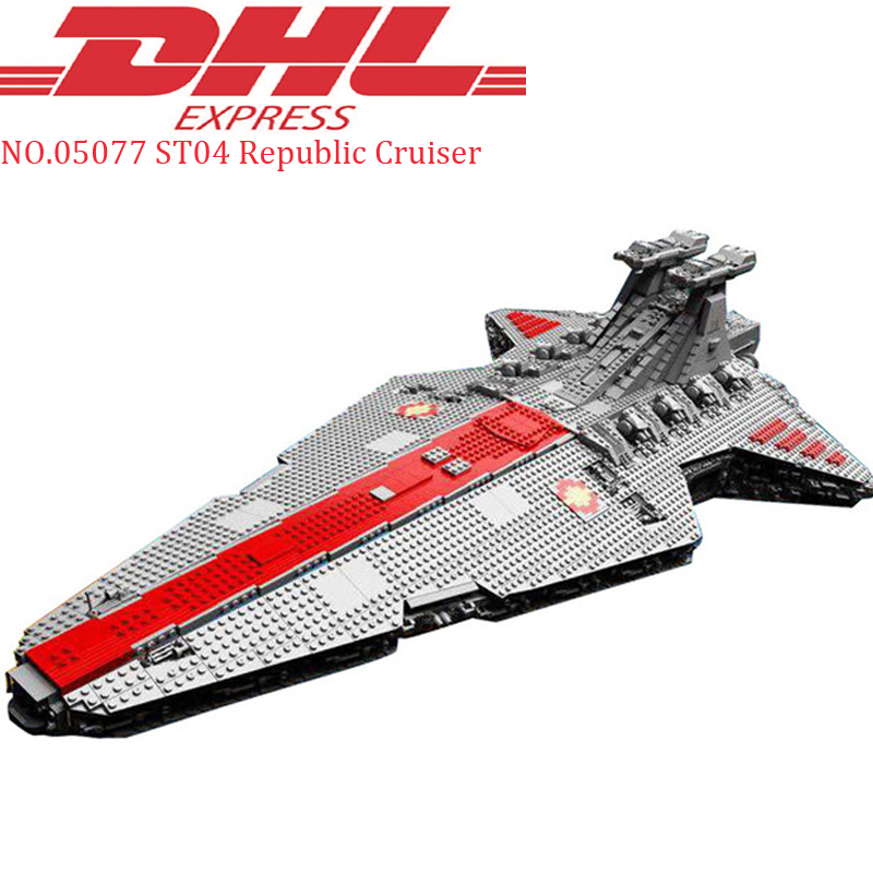 DHL Lepin 05077 6125Pcs Star Wars Ucs ST04 Republic Cruiser Model Building Kit Blocks Bricks Compatible Set Educational Toy Gift lepin 05077 stars series war the ucs rupblic set star destroyer model cruiser st04 diy building kits blocks bricks children toys