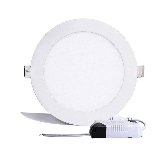 1 pièces Ultra mince Led panneau Downlight 6w 9w 12w 15w 25w plafond rond encastré Spot lumière AC85-265V peinture lampe éclairage intérieur