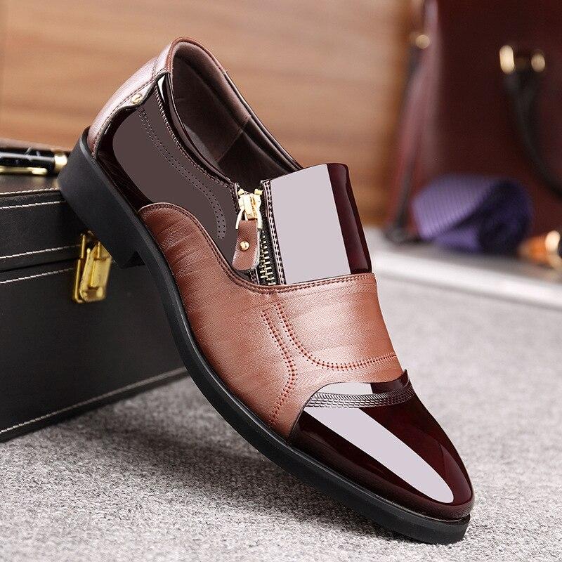 Casual Cuir brown Delocrd Appartements Black En Qualité Doux Oxford Chaussures Respirant De Mode Hommes Printemps Verni Haute Nouveau D'affaires Zip F4wgOq