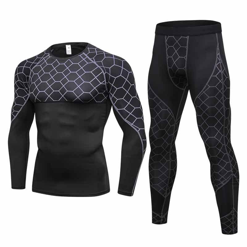 Бренд 2017, Быстросохнущий облегающий высококачественный мужской спортивный костюм для бега, тренировочная Спортивная одежда для спортзала, Черная Мужская спортивная одежда