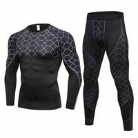 Brand 2017 Quick Dry Fitness Tight High Quality Running Set Men Sport Suit Gym Training Sports Clothing Black Man's Sportswear