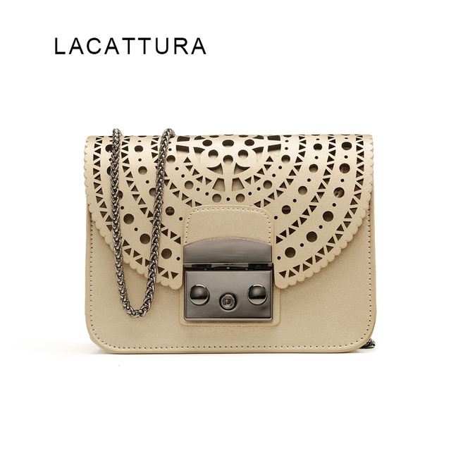 LACATTURA Famous Popular Brand Hollow Out Designer Genuine Leather Bag Women Flap Chain Bag Ladies Shoulder Crossbody Purse