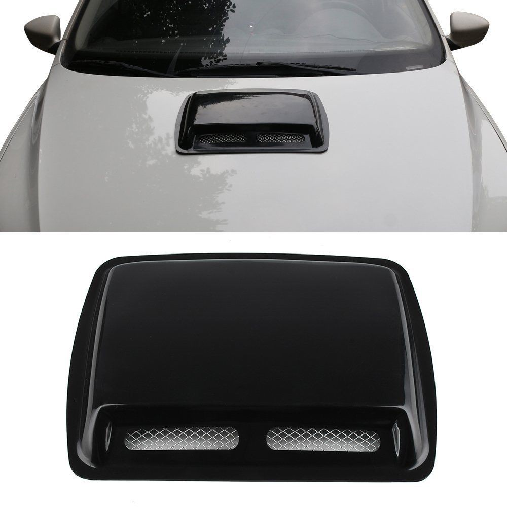 KaTur Universal Car Decorative Air Flow Intake Hood Scoop Vent Turbo Bonnet Cover Gray