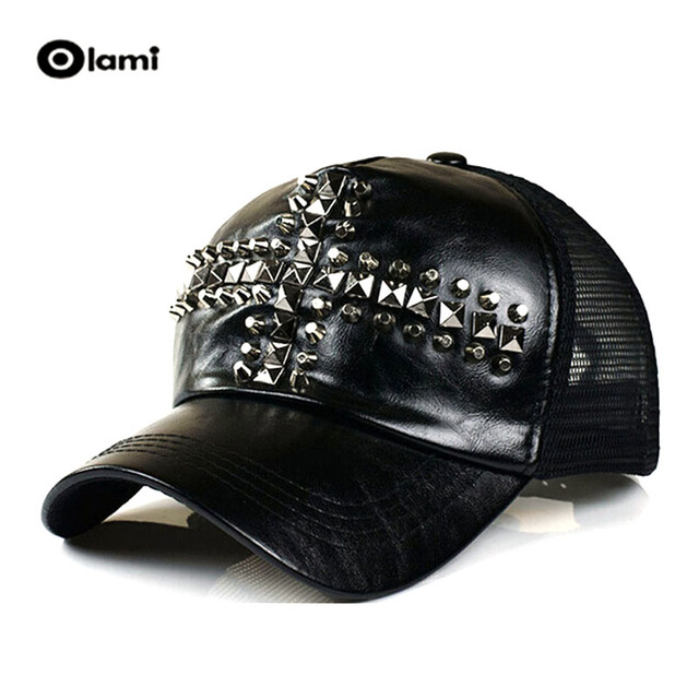 20ca105ff889 O new PU hat wave of man retro leather rivets along the cross shade mesh  baseball cap summer style boy girl boina