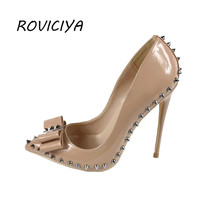 Sexy 12 cm extreme high heels women shoes with bow rivets nude black red pointed toe shallow women pumps plus size MD002ROVICIYA
