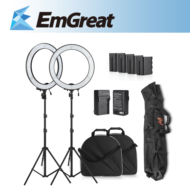 Ring LED Video Light 600PCS Beads Stepless Adjustable Light w/ Diffuser Portrait Photography + Battery Pack + Battery Charger falconeyes super power 630 led ring light video light battery pack mv ad2 np f970 battery holder light stands