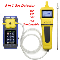 5 в 1 O2 H2S CO CO2 детектор горючих газов с Газа Образец насос кислорода Анализатор угарного газа углерода монитор диоксида