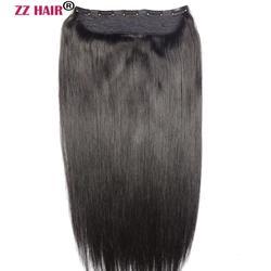 ZZHAIR 100g-200g 16-28 Machine Made Remy Hair One piece Set 5 Clip-in 100% Human Hair Extensions Natural Straight Hair