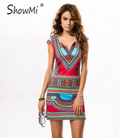 ShowMi 2017 Sexy Women Summer Raditional African Print V Neck Bodycon Casual Dresses Short Sleeve Vestidos