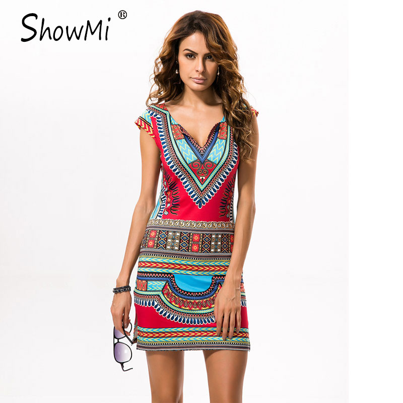 New Ladies Summer Dress Casual 2018 Short V-neck Sexy African Dresses Dashiki Traditional Print Mini Womens Beach Dress Vestidos