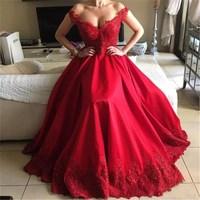 Abiti da cerimonia da sera Off Shoulder Beaded Lace Satin Evening Dresses Party Long Prom Dresses Formal Gown robe de soiree