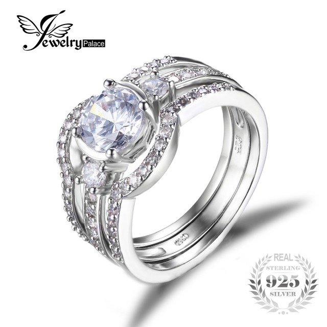 JewelryPalace 3 Stones 1.5ct Cubic Zirconia 3 Pcs Anniversary Wedding Band Engagement Ring Bridal Sets 925 Sterling Silver