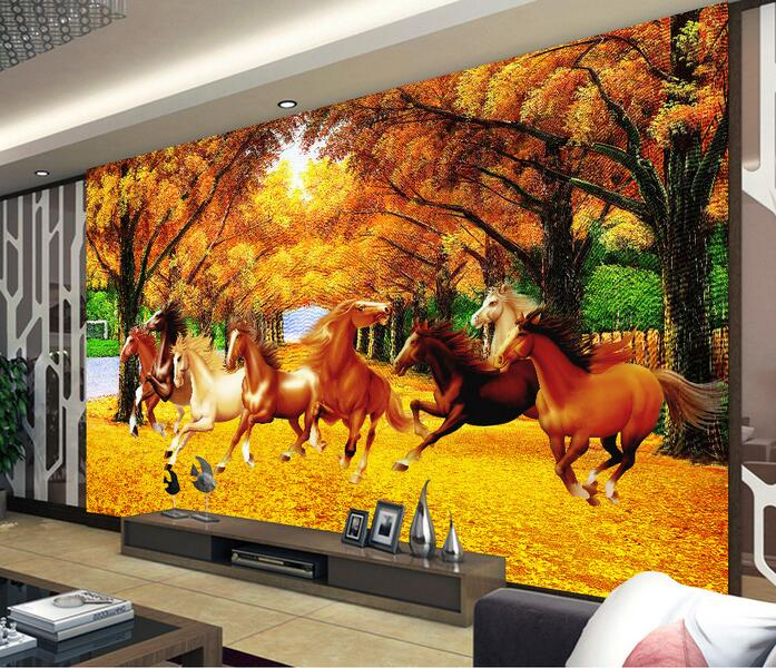 3d wallpaper custom mural non-woven 3d room wall stickers 3 d Gold eight horses running on the ground paintings 3d wall murals 3d wallpaper custom mural non woven cartoon animals at 3 d mural children room wall stickers photo 3d wall mural wall paper