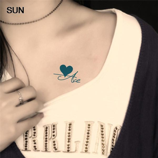 Women Sexy Chest Fake Tattoo Spades Plum Square Red Heart