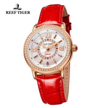 2021 Reef Tiger/RT Luxury Brand Casual Women Watches Red Leather Strap Waterproof Quartz Watch Clock Gift for Wife RGA1563 2