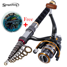 1.3m-2.4m Stick Fishing Rod de Carbon Fiber Fishing Rod for Fish Olta Spinning Telescopic Mini Fishing Rod Set with Reel Pole