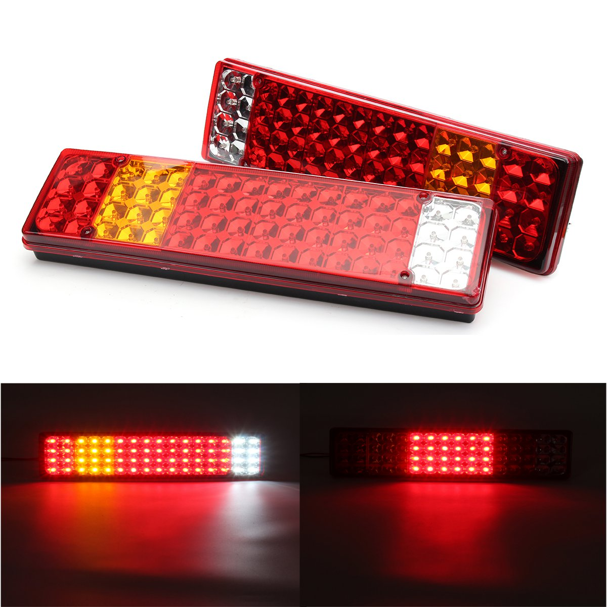 Pair 24V LED Rear Tail Lights Lamps 6 Functions For Scania For Mercedes Man Daf For Ranault -Volvo Iveco