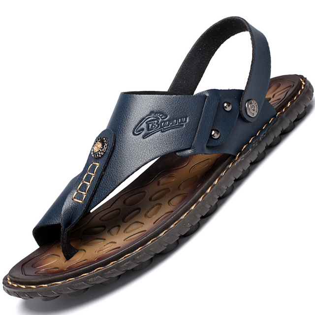 Men's Summer Genuine Leather Flip-Flops Slippers Beach Sandals Casual Shoes Moccasins Men Sandals Summer 1