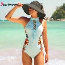 New High Neck One Piece Bathing Suit Retro Vintage Sexy Floral Bandage Swimwear Bodysuit Beachwear