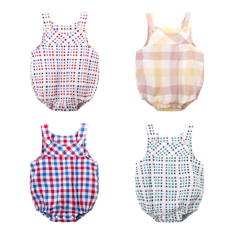 Baby Girl Boy   Rompers   Summer Sleeveless Babies Clothing Roupas Infantis Newborn Baby Clothes Jumpsuit Lattice Thin Cotton Vest