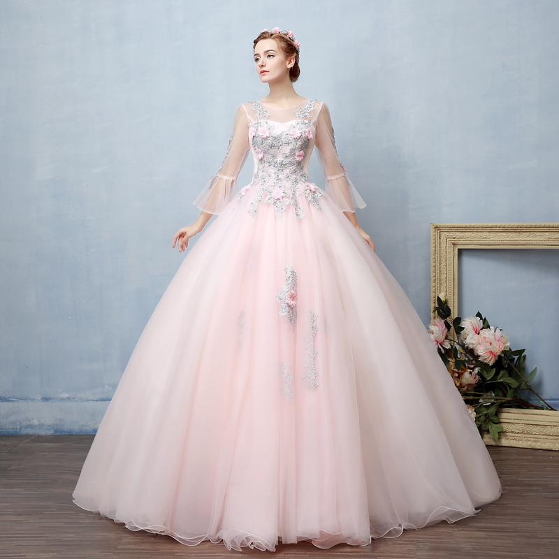 100%real light pale pink fairy 18th century cosplay ball gown royal princess Medieval Renaissance Victorian dress Belle ball