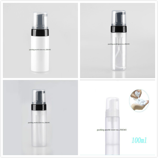 100ML white clear frosted plastic PET bottle with black foaming pump for facial foam MOUSSE cleanser