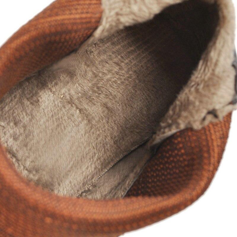 Casual Botas Punta Med Zapatos Cuero Primavera Cm Pu 2019 Tobillo 4 Mujeres Otoño Erogenous Nubuck marrón Estrecha Talón Moda De BwqFIZS