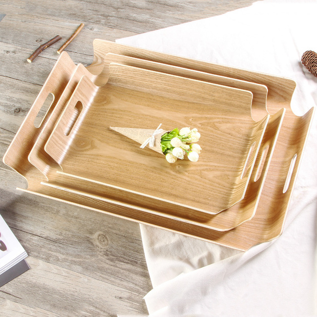 Wooden Round Square Tray Dinner Plate Rectangular Sushi Serving Tray Multi-Function Food Dessert Tea & Wooden Round Square Tray Dinner Plate Rectangular Sushi Serving ...