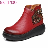 GKTINOO New Autumn Women's Genuine Leather Platform Shoes Wedges Lady High Heel Shoes Woman Pumps Handmade Flower Shoes