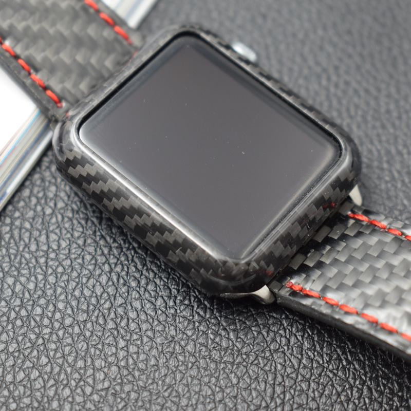 Haute Qualité De Luxe Ultra Mince Réel de Fiber De Carbone Cas Pour Apple montre Couverture Protéger Shell Pour Apple Montre Série 3 2 1 38mm-42mm