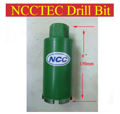 цена на 76mm*150mm NCCTEC short crown wet diamond drilling bits FREE shipping | 3'' diameter 6'' long concrete wall wet core bits