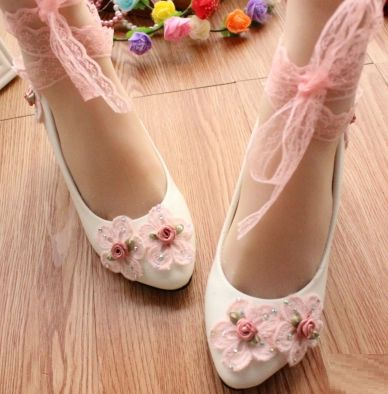 ФОТО Pink white patchwork lace wedding bridal shoes on sales! TG022 lace flower ankle lace belt fashion sweet party pumps