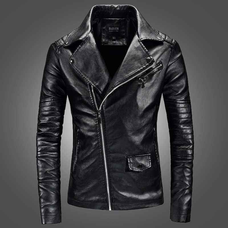 Новая Осенняя мужская куртка из искусственной кожи для мужчин фитнес модная мотоциклетная кожаная куртка Casaco Masculino повседневное пальто мужская одежда