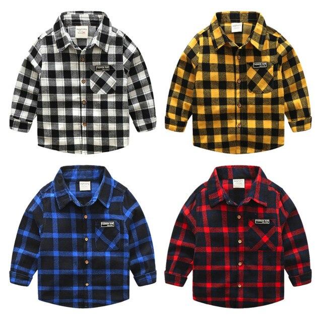 b343a44da39a New Boys Shirt for Kids Cotton Clothing 2018 Fashion New Baby Boy Plaid  Shirts Long Sleeve England School Trend Children Clothes