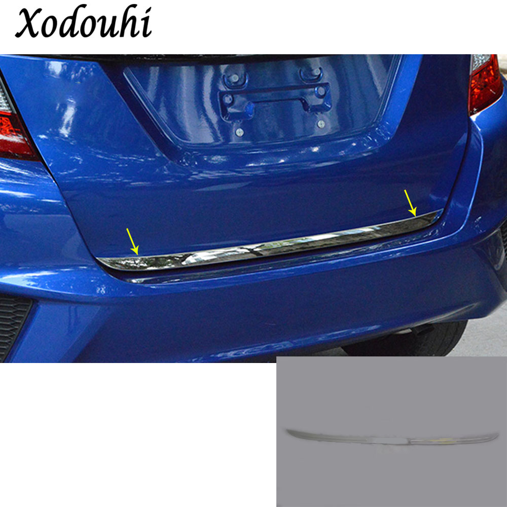 For Honda Fit jazz 2014 2015 2016 2017 Car Styling body Rear door tailgate bumper frame plate trim lamp trunk Lid 1pc high quality for qashqai 2016 car body styling cover detector abs chrome rear door bottom tailgate frame plate trim lamp 1pcs