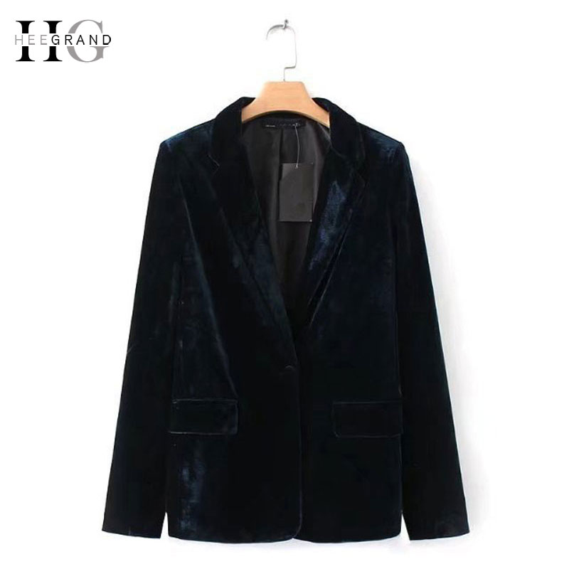 HEE GRAND 2018 Velvet Women Blazer Blue Elegant Lady Blazers OL Suit Jacket Autumn Basic Jackets Spring Women Outwears WWX471