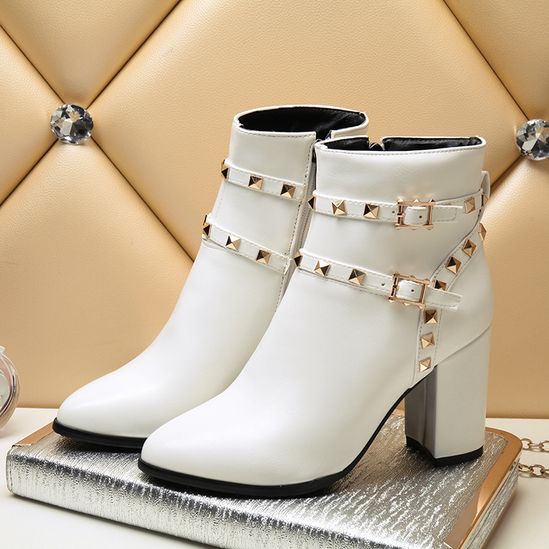 Thebams 2018 Autumn And Winter Stiletto Crude High Heels Pointed Toe Faux Leather Zipper rivet Style Sexy Ankle Womens Boots
