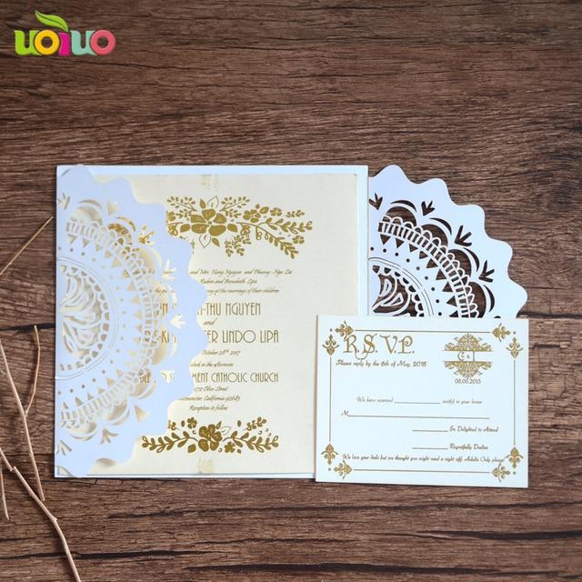 Por Bulk Professional Wedding Invitation Card Maker Lace Flower Design Invite With Rsvp